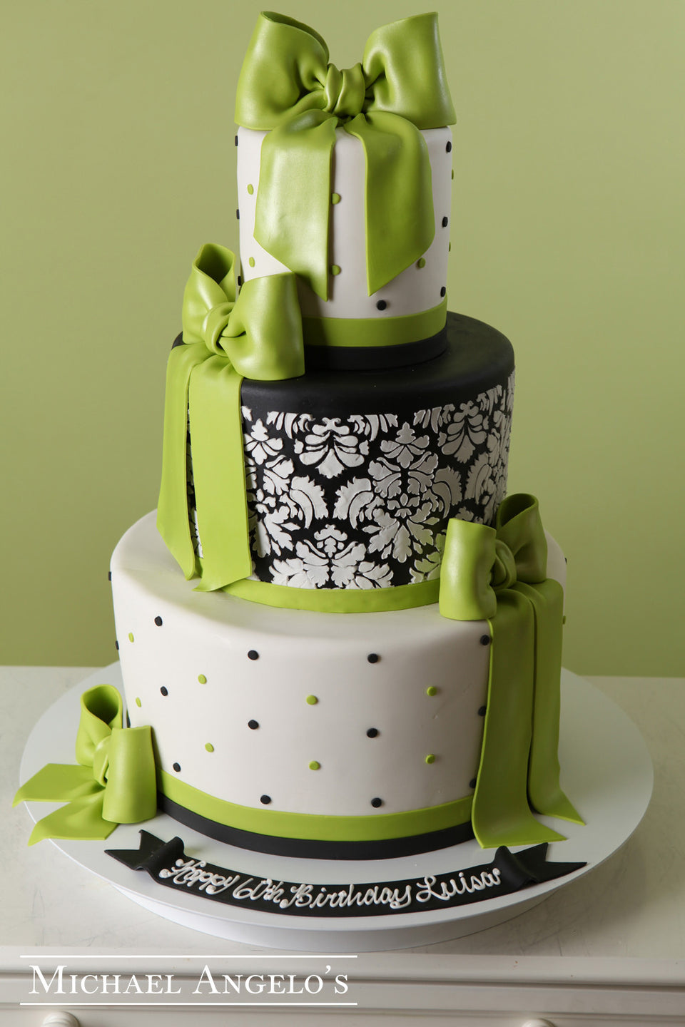 Damask with Lime Bow #96Milestones