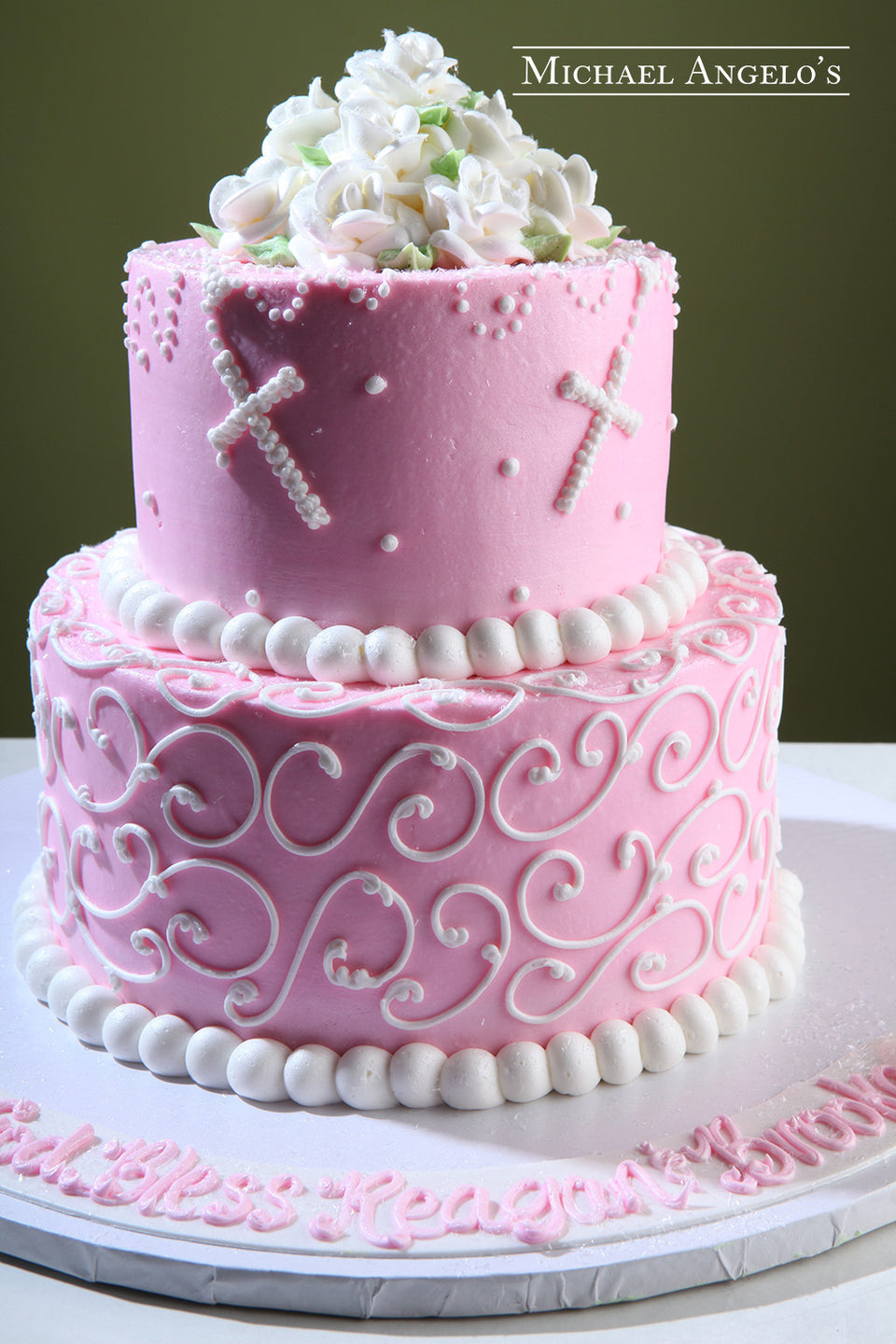 Pink Buttercream with Crosses #97Religious