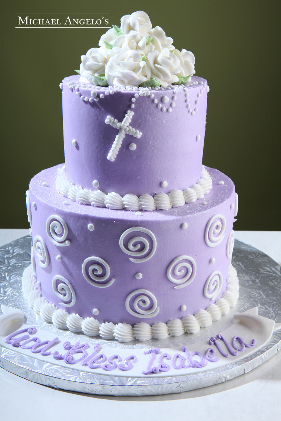 Purple Buttercream with Rosary #100Religious