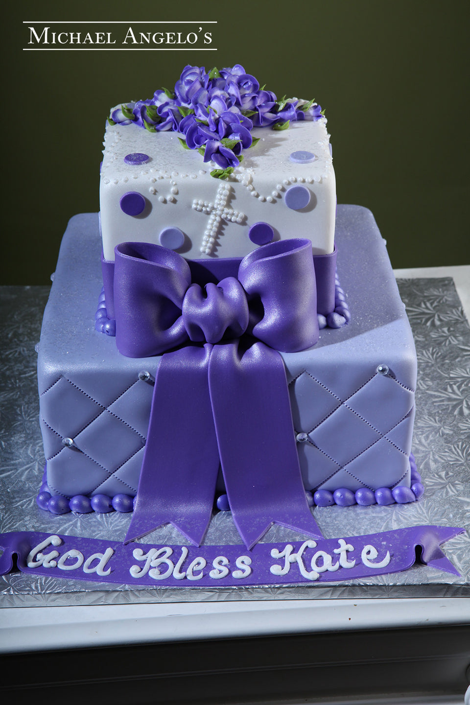 Purple Fondant With Rosary #104Religious