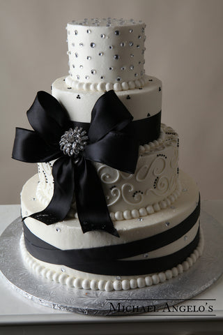 Black Fondant Wrap with Brooch #9Bow