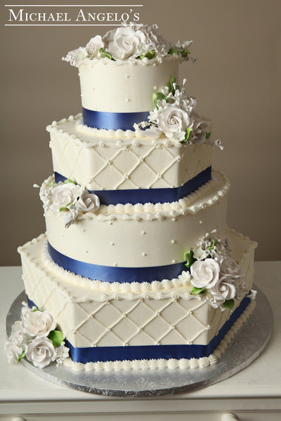 Royal Blue & White Roses #30Ribbons