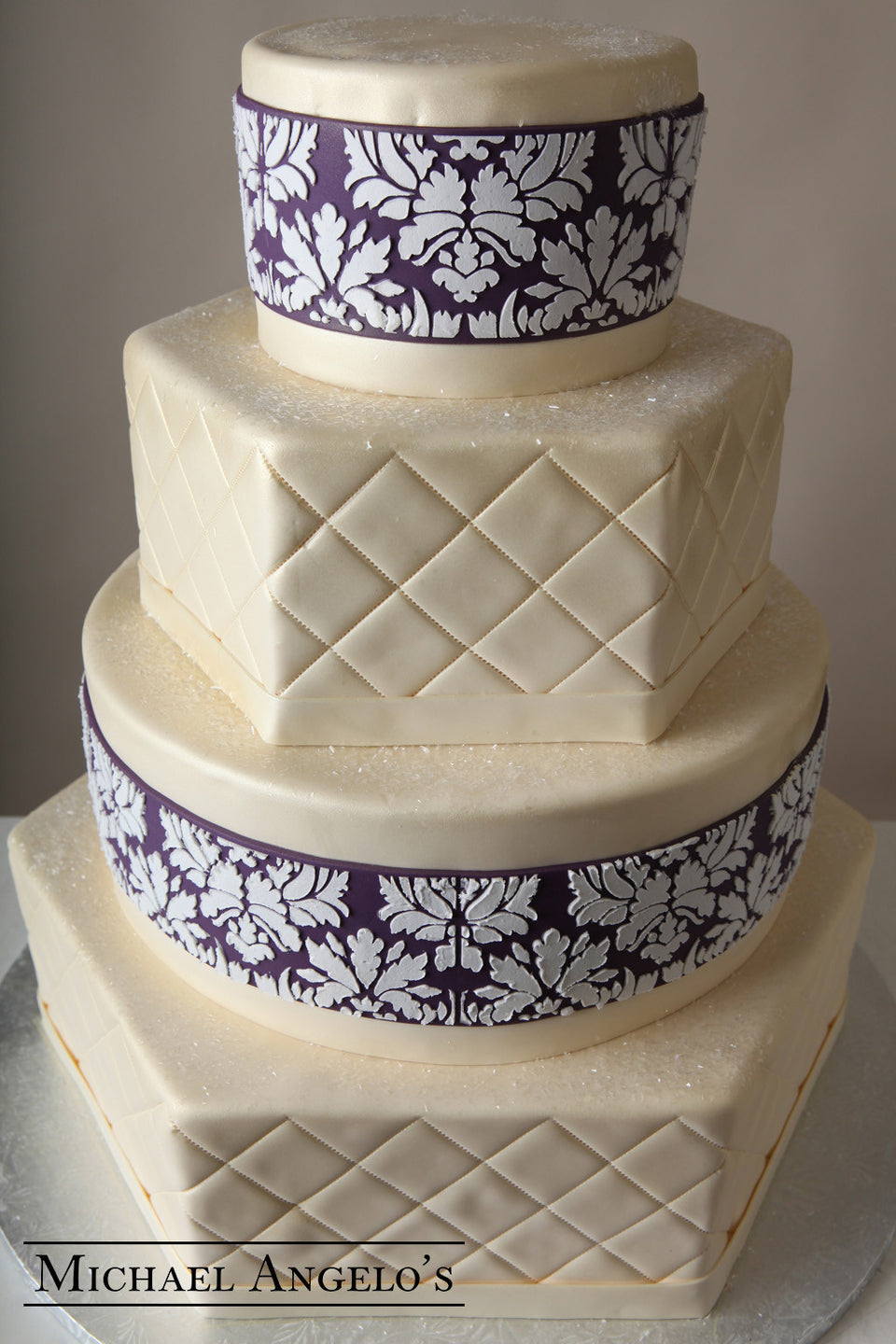 White & Purple Damask #3Vintage