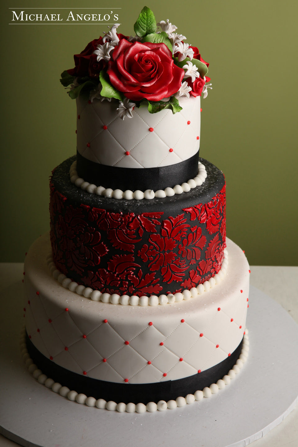 Red & Black Damask #8Vintage