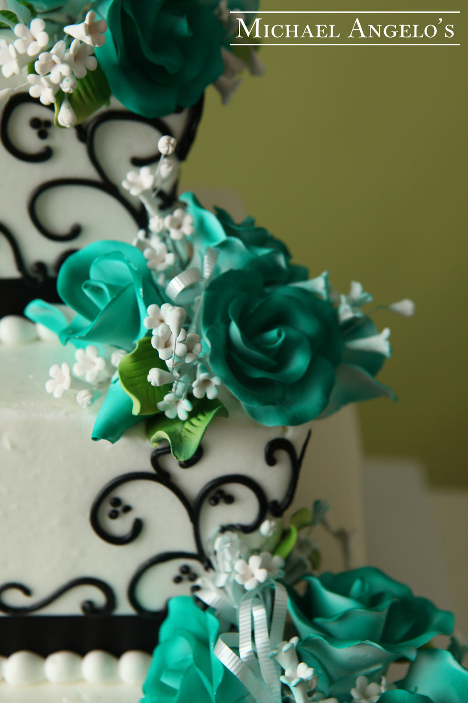 Turquoise Flowers & Swirls #78Ribbons