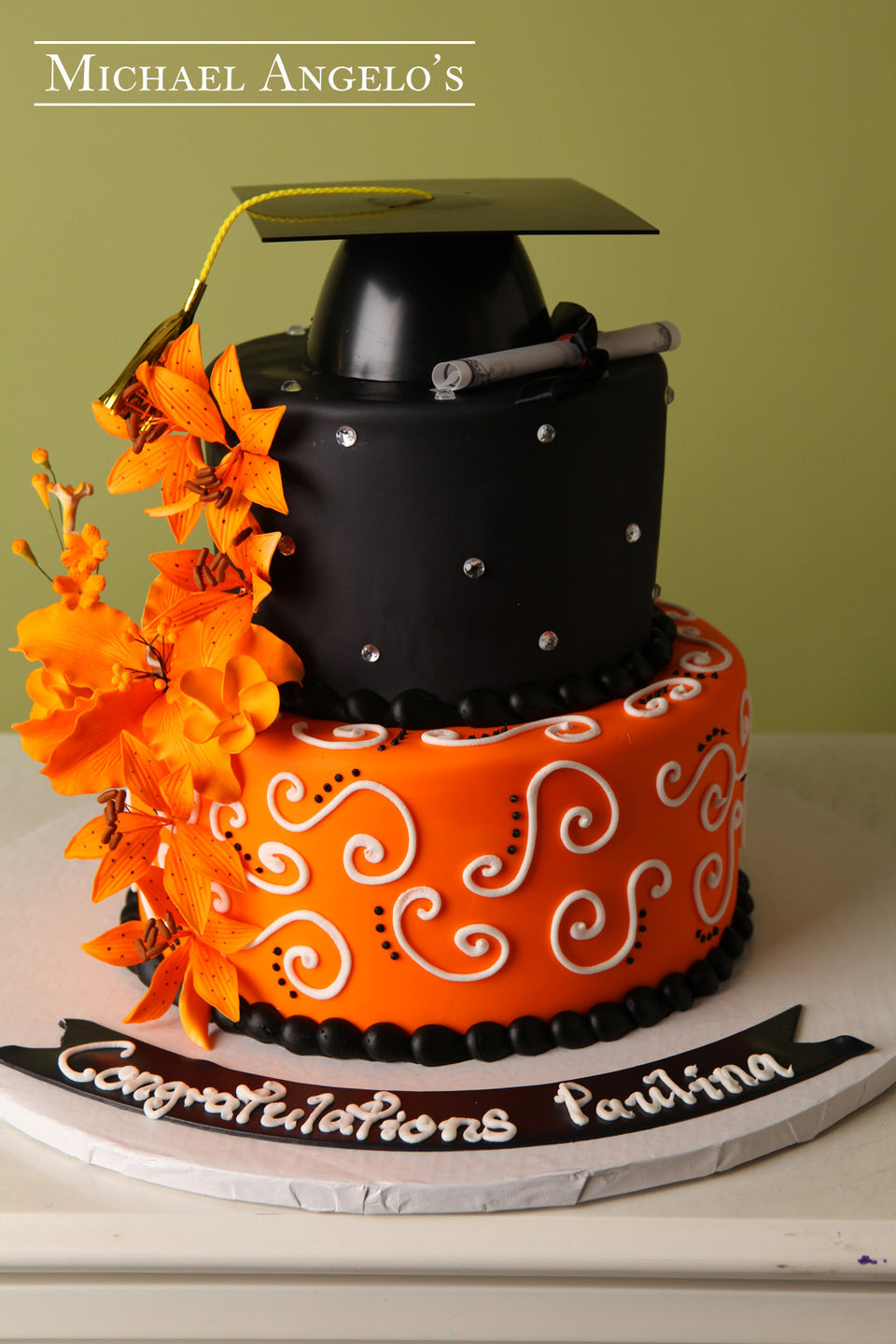 Black with Orange Flowers #4Graduation