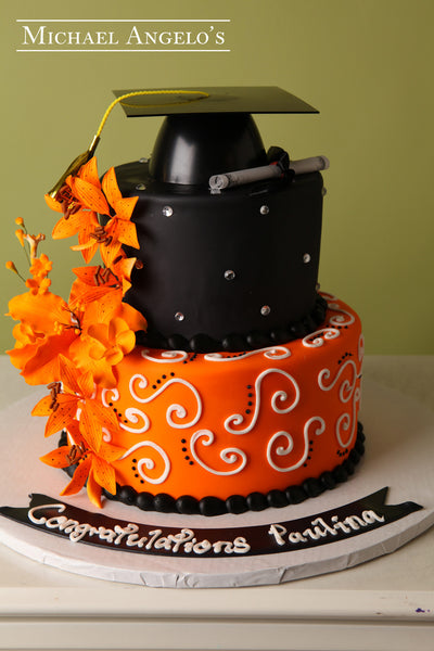 Black With Orange Flowers 4graduation Michael Angelo S