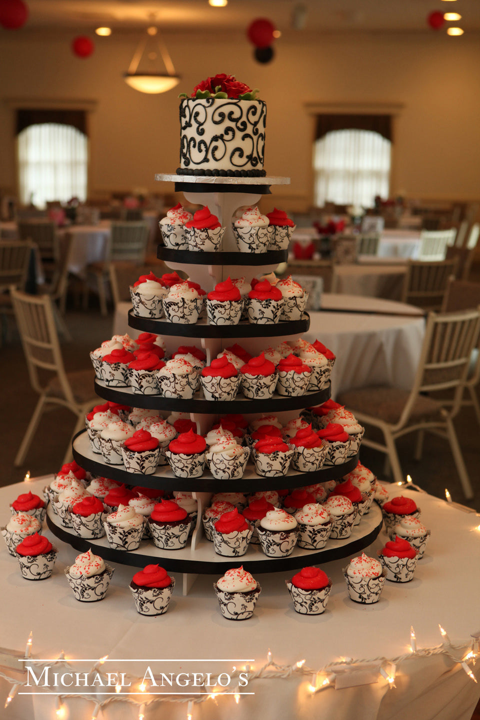 Red and Black Cupcake Tower