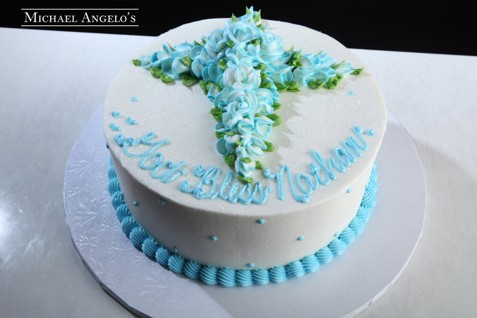 Blue Buttercream Cross #53Religious