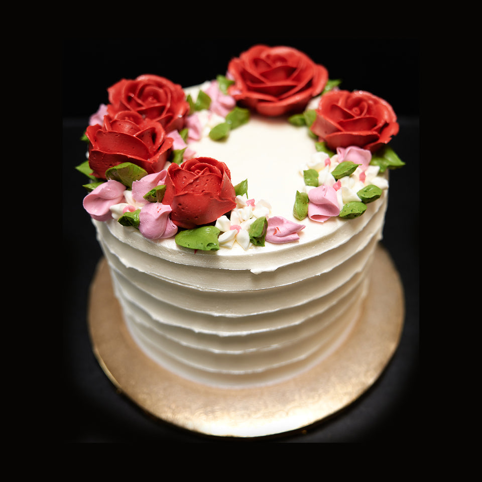Online Cake Order - Roses and Linen Texture. #3Featured