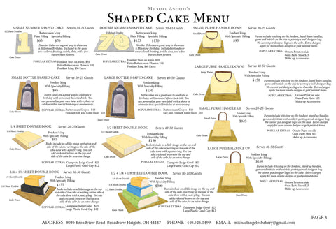 Shaped Cake Menu