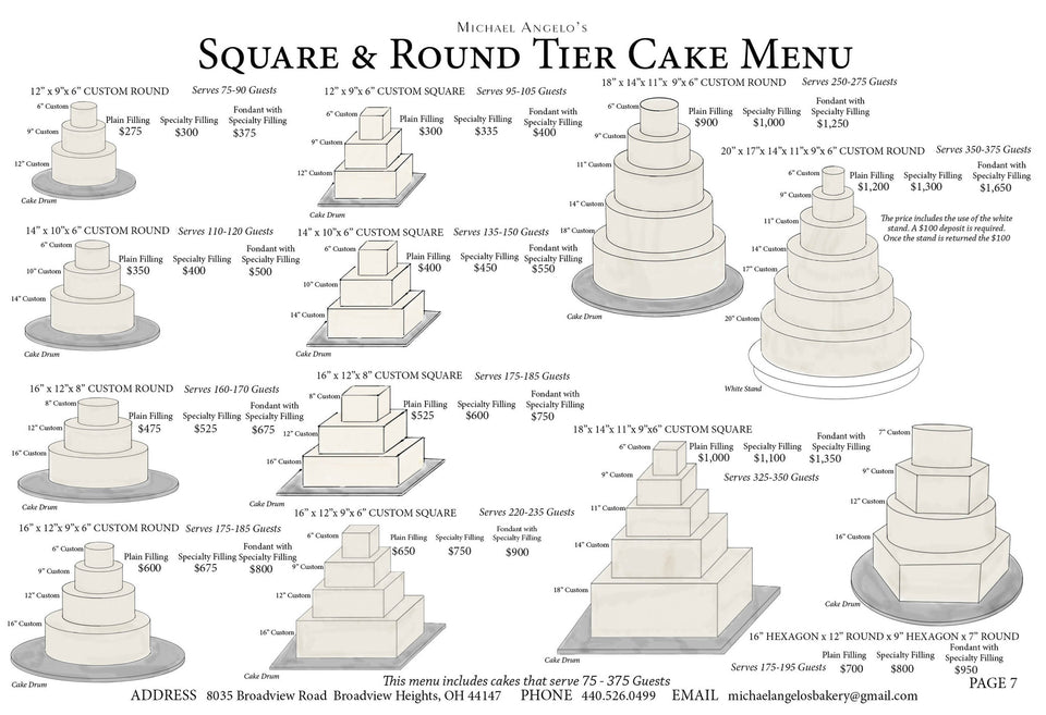 Square and Round Cake Menu