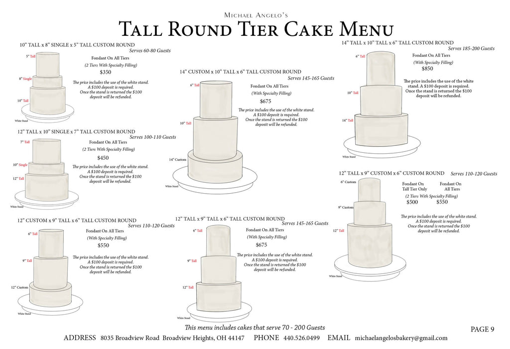 four tier wedding cake sizes tier cake menu michael angelo s 14433