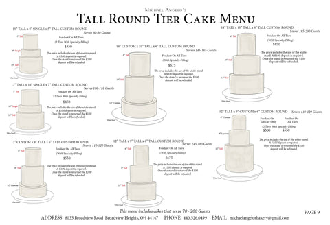 Tall Round Tier Cake Menu