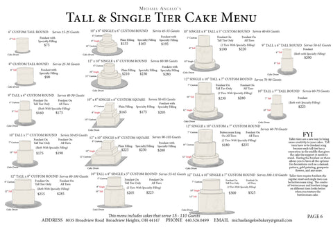 Tall & Single Tier Cake Menu