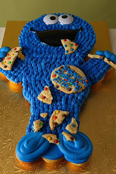 Cookie Monster Shaped Cupcake Cake