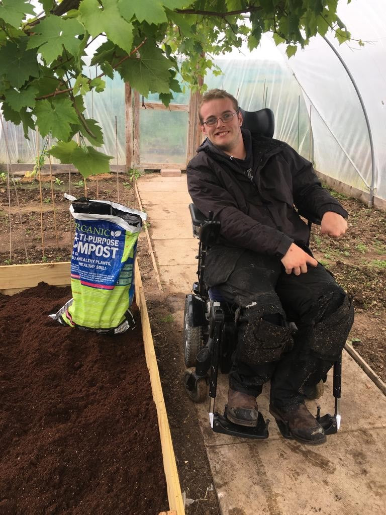 Kieron Connaghan using New Leaf Compost for better wellbeing and mental health