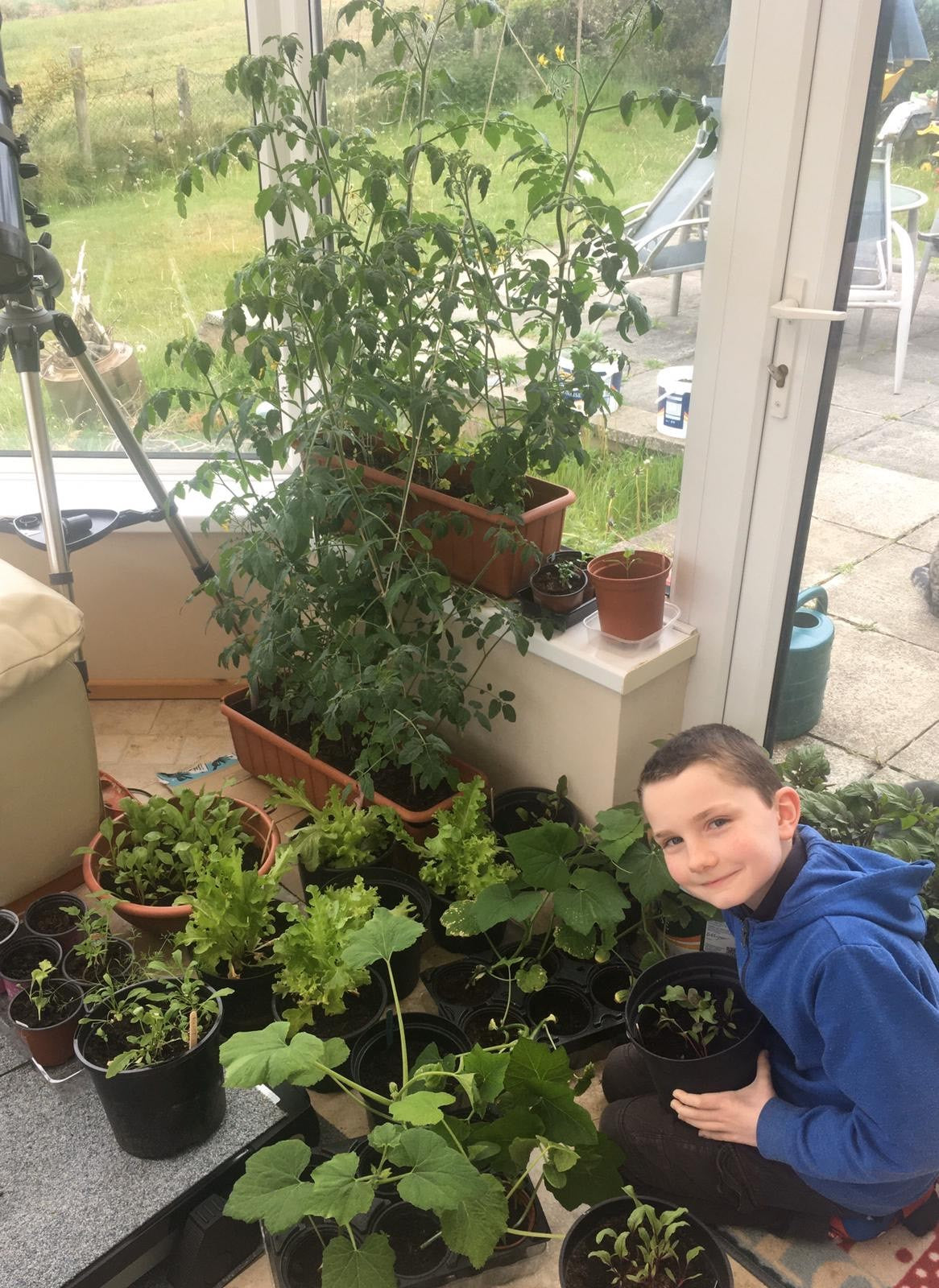 Sinead Kavanagh's 9 year old son enjoying New leaf Compost products during lockdown