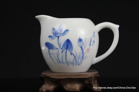 "Douji - Jin De Zhen Handpaint ""Lotus"" Serving Pitcher 130ml http://china-cha-dao.com"