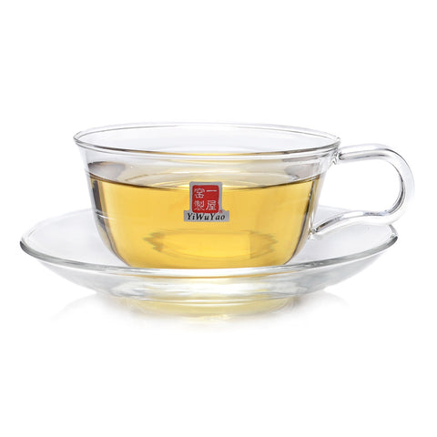Clear Glass Teacups with Saucer 150ml 5.07 fl oz FH-08P #0018. http://china-cha-dao.com