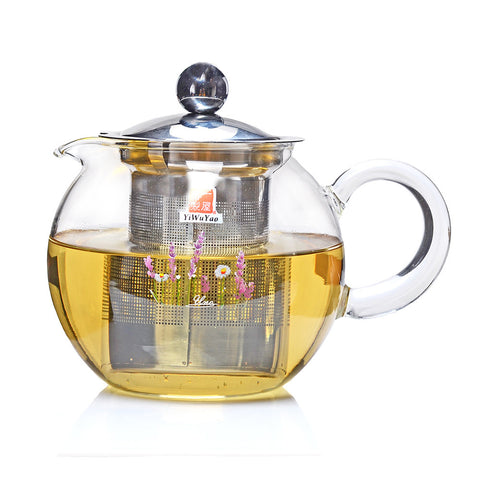 Clear Glass Teapot with Stainless Steel Filter 600ml FH-290X #0048