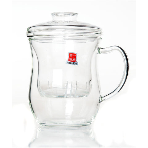 Clear Glass Tea Mug with Filter 400ml FH-361 #0002. http://china-cha-dao.com