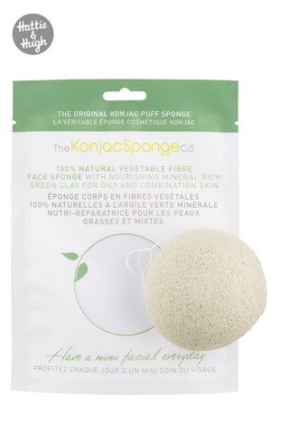 Konjac French Green Clay Facial Puff Sponge at Hattie & Hugh