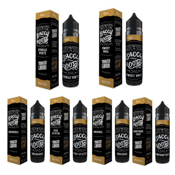 Baccy Roots 60ml UK made Shortfill E Liquid 70/30 VG PG with free Nic Shots
