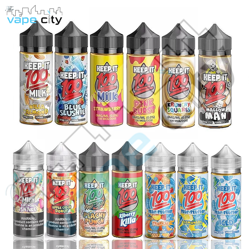 Keep-it-100 USA made 120ml Shortfill VG/PG 70/30 E liquid Vape Juice with free Nic shots