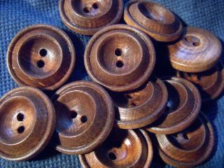 "Wood button-Double Rim/Cupcenter # 1864 1/2""  5/8""  3/4""  7/8""  1 1/8""  Prices are for 12 Pieces"