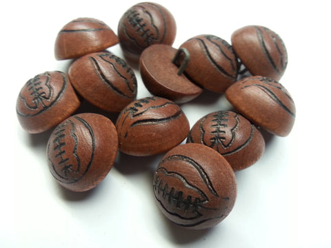 "Wooden button w/basketball Stitching  # BASKETBALL- 11/16""  Price is for 12 Pieces"