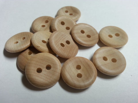 Natural Wood Button-Slight Cup # 603  Many Sizes  $/DZ.
