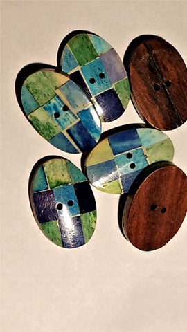 "Oval Multi Color ""Tile"" button-price per piece"