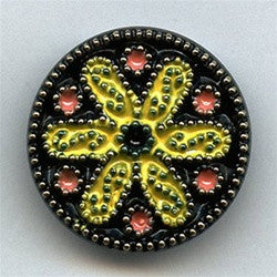 "Vintage Glass Button Enameled (G1120- 1 1/8"" )"