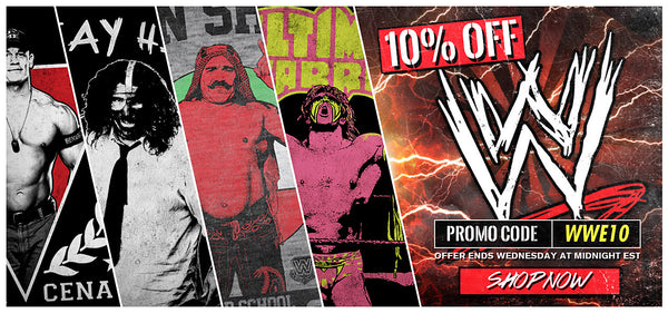 10% off all WWE Designs - Hurry up and grab some!