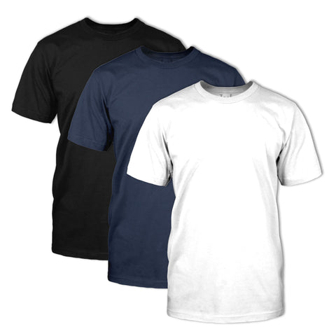 Classic Fit Crew Neck 3 Pack: Black, Navy, White