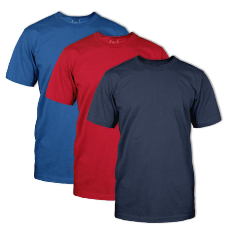 Classic Fit Neck T-Shirt 3 Pack-Royal, Red And Navy
