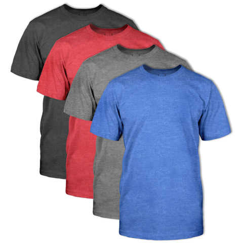 Classic Fit Crew Neck Heather T-Shirt 4 Pack