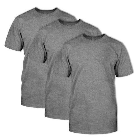 Classic Fit Crew Neck Heather T-Shirt 3 Pack:Vintage Black H