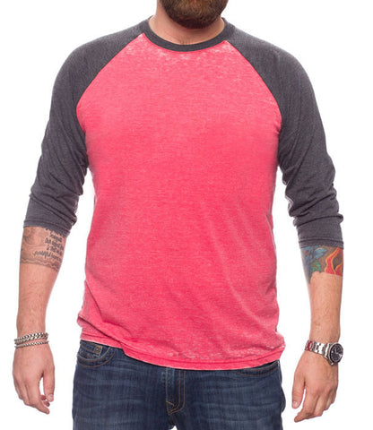 Burnout Crew Neck Raglan 3/4 Sleeve