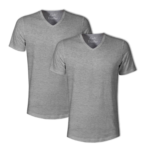 Triblend Classic Fit V-Neck T-Shirt 2 Pack: Grey Triblend