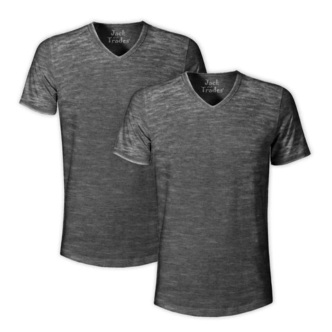 Burnout V-Neck T-Shirt 2 Pack: Black H