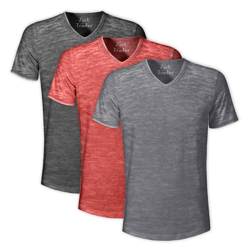 Burnout V-Neck T-Shirt 3 Pack:Black H,Red H And SilverH