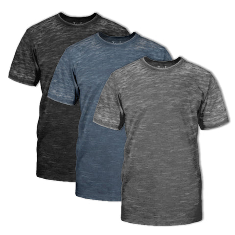 Burnout Crew Neck T-Shirt 3 Pack:Black H,Silver H And Navy H