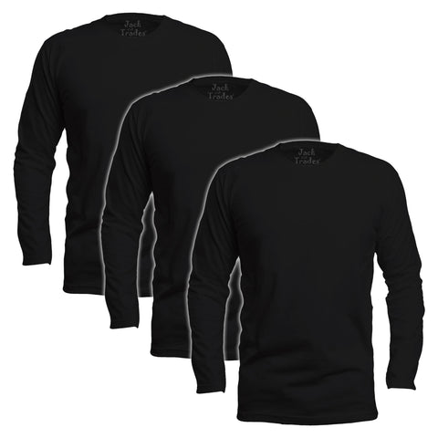 Long Sleeve Black Classic Fit T-Shirt 3 Pack