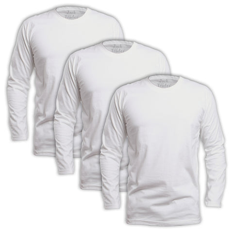 Long Sleeve White Classic Fit T-Shirt 3 Pack