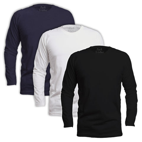 Long Sleeve Classic Fit T-Shirt 3 Pack - Black, White, Navy