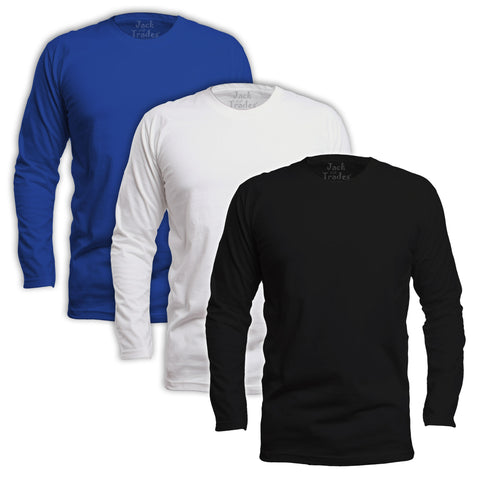 Long Sleeve Classic Fit T-Shirt 3 Pack - Black, White, Royal