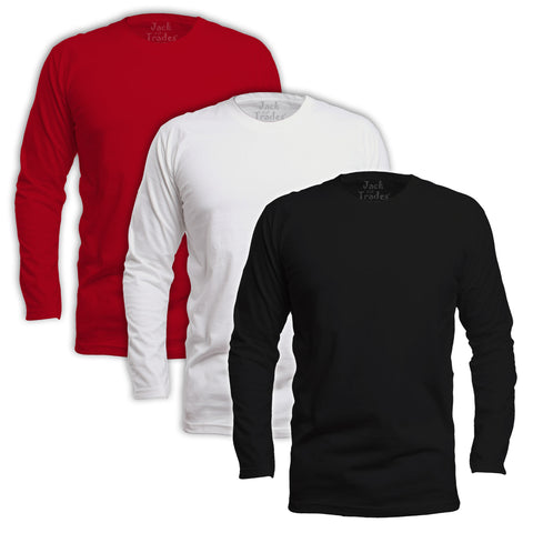 Long Sleeve Classic Fit T-Shirt 3 Pack - Black, White, Red