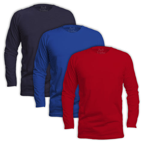 Long Sleeve Classic Fit T-Shirt 3 Pack - Red, Royal, Navy